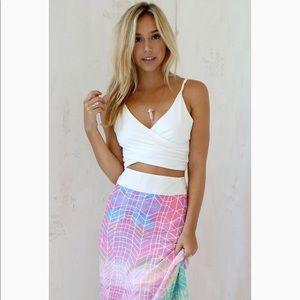 Sabo Skirt White Twist Crop Top